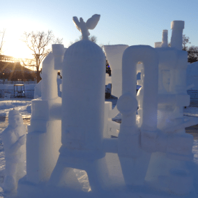 "Second place: ""Keurig 0.2,"" by Royal and Supreme Order of Snow Sand Sculptors and Shovelers."