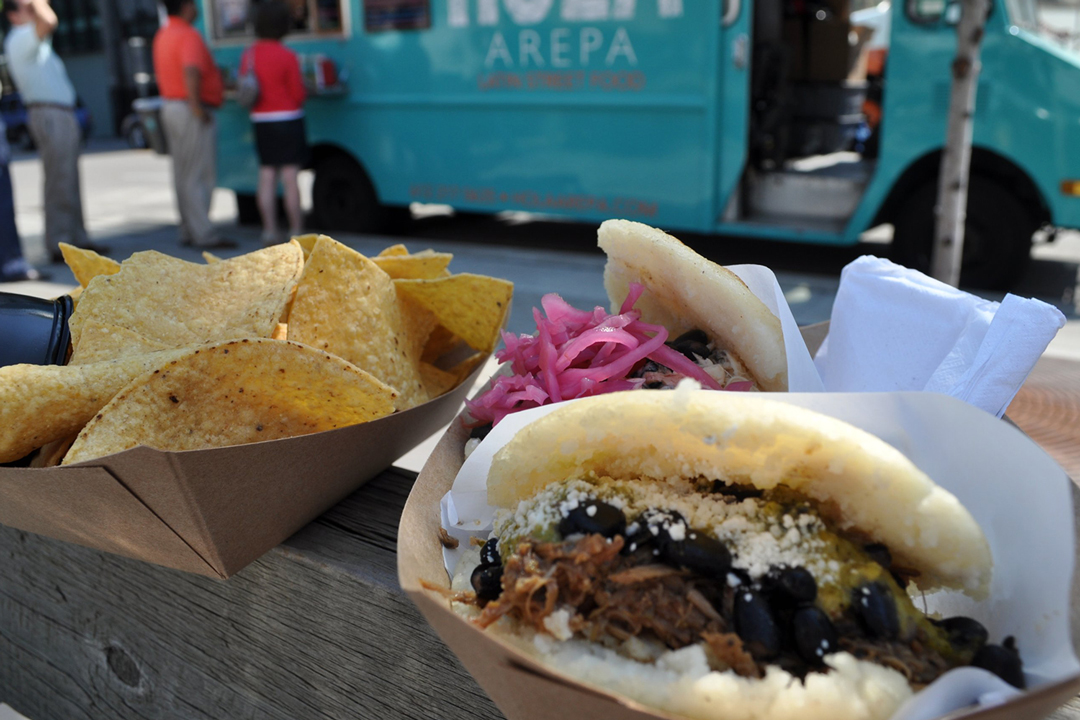A close up of the pulled pork arepa from the Hola Arepa food truck in Minneapolis, Minnesota.