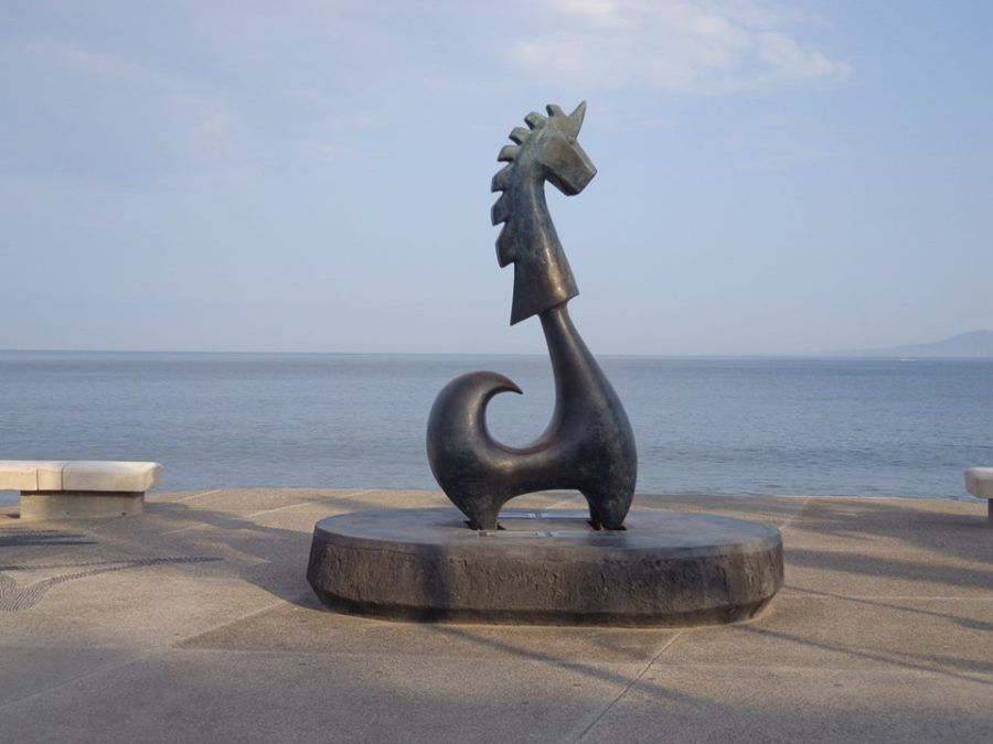 Unicorn of Good Fortune Statue Malcon along Malecon in Puerto Vallarta, Mexico