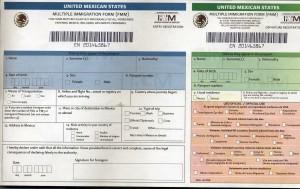 México formulário de imigração