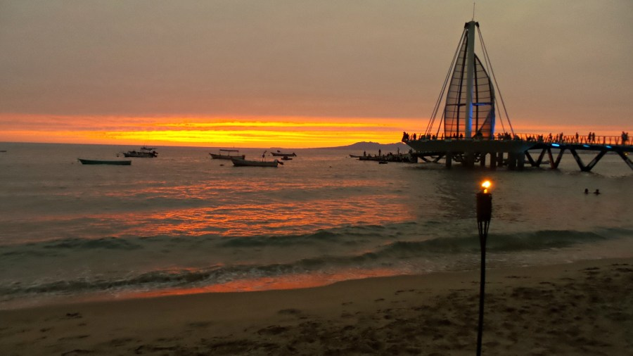 Picture of the Los Muertos Pier in Puerto Vallarta at sunset