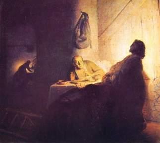 Cuadro Cena  de los peregrinos en Emaús - Rembrandt - visitas guiadas milan español