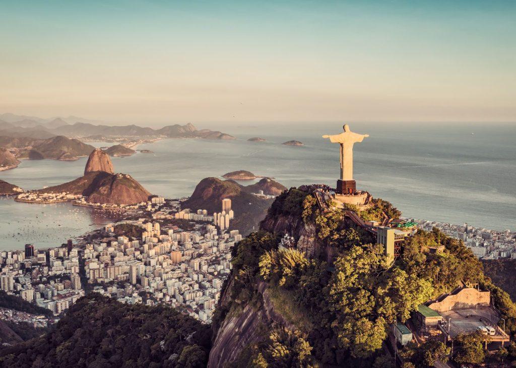 Aerial panorama of Botafogo Bay and Sugar Loaf Mountain, Rio De Janeiro, Brazil.