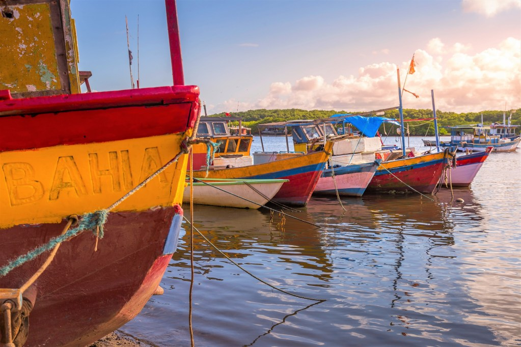 Brazilian Fishing rustic wooden Boats in Bahia, northeast Brazil - Porto Seguro, Arraial d'Ajuda
