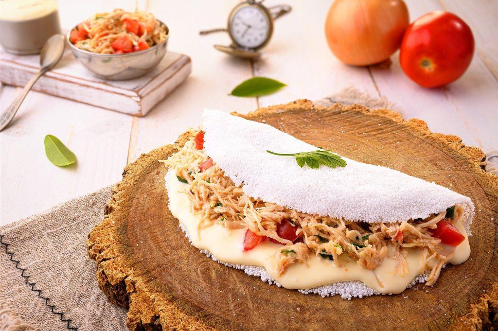 Chicken Tapioca with Catupiry - Typical northeastern Brazilian food