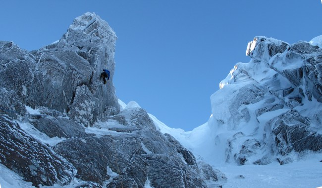 Credit Pete MacPherson - Mixed climbing in winter on the famous Cairngorm Granite