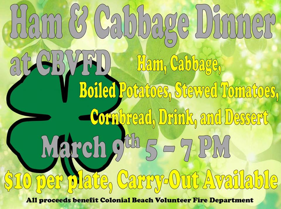 Ham & Cabbage Dinner to benefit Colonial Beach Volunteer Fire Department