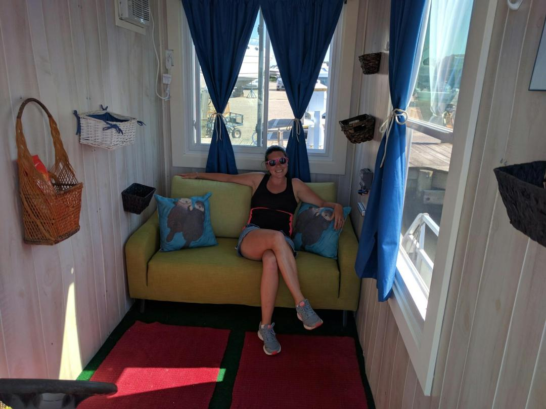 Inside the tiny houseboat