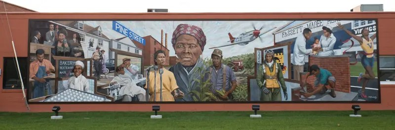 African American Heritage Mural in Cambridge, MD featuring Harriet Tubman