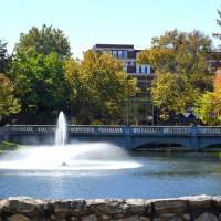 the fountain at wooster lake on the Emporia State University campus