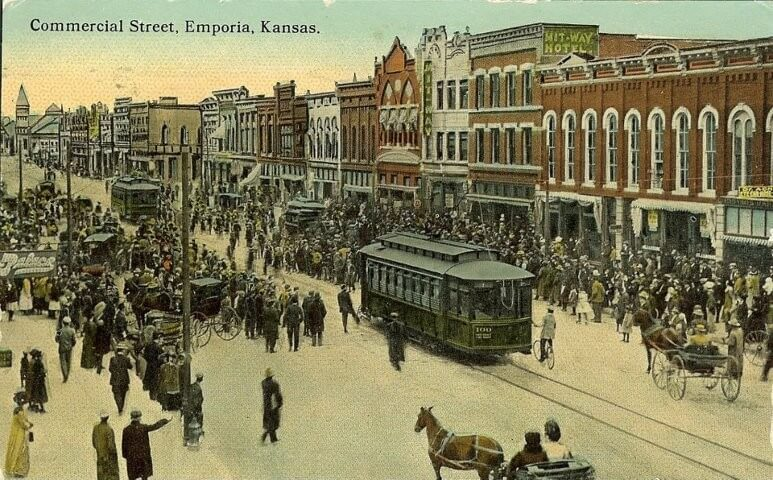 Photo of downtown commercial street in the late 1800s depicting the history of emporia