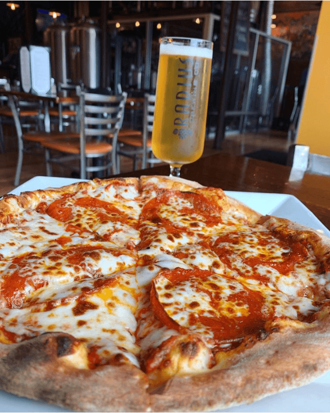 Radius Brewing Co - wood-fired brick oven pizza