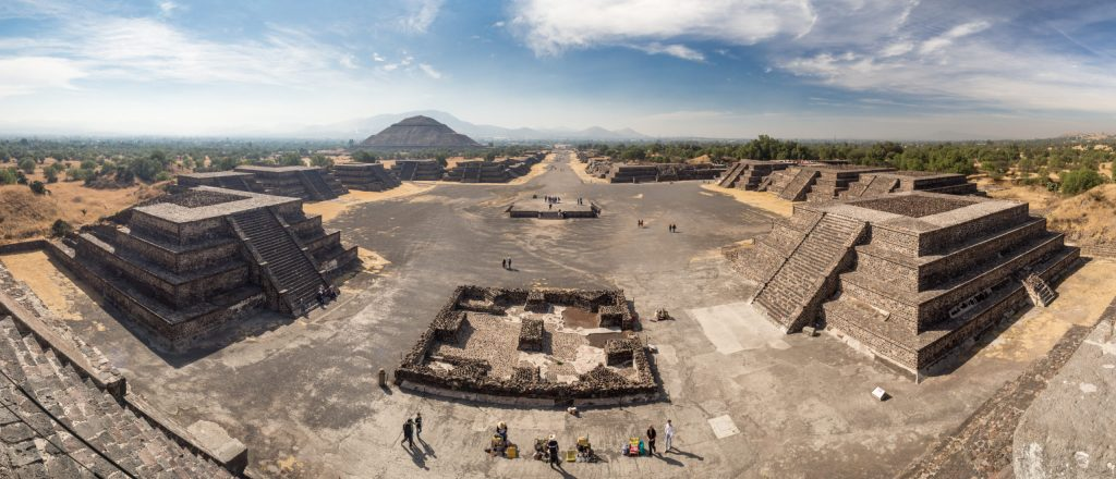 Teotihuacan, Mexico City, Mexico, South America - Janunary 2018 [The Great Pyramid of Sun and Moon, views on ancient city ruins of Teotihuacan pyramids valey, The Road of Dead]