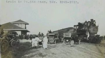 Arrival of first passenger train, 1912