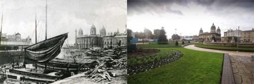 Queens Dock 1914 and 2016