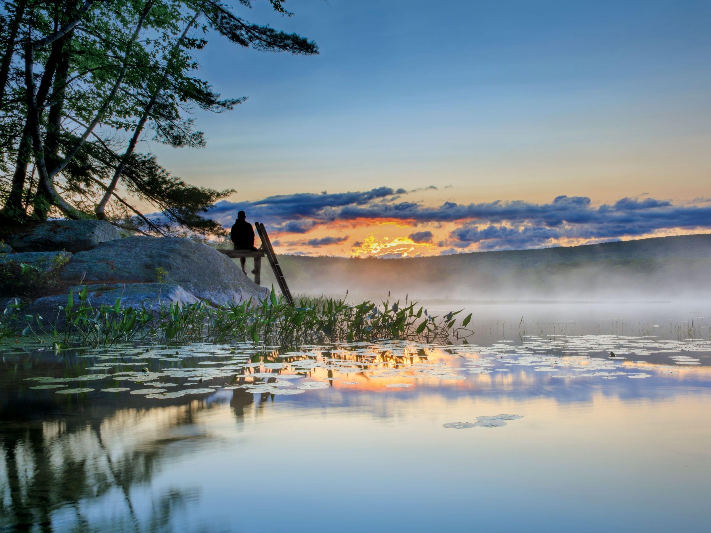 Sunset on Flying Pond, Mount Vernon