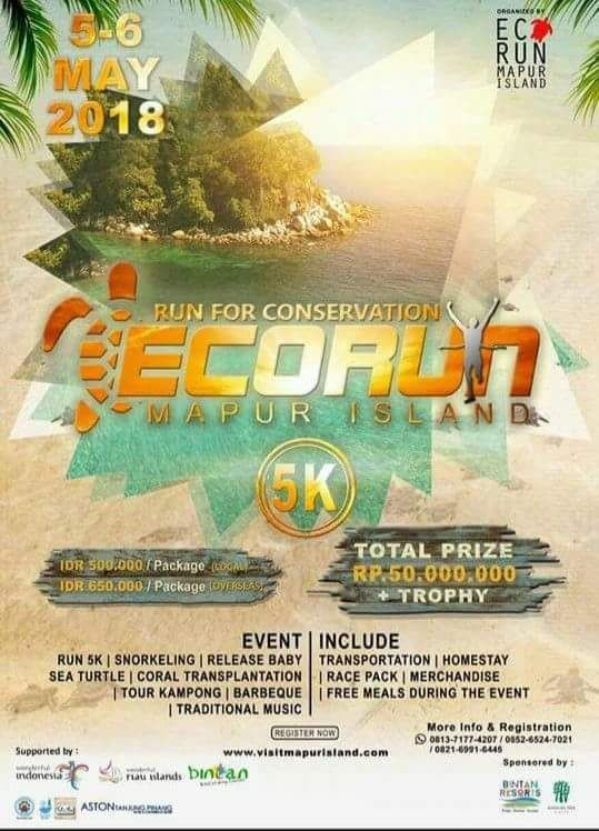 Calendar of Event 2018 - Wonderful Riau Islands - April Mei Kepri Penuh Event - ECORUN Mapur Island