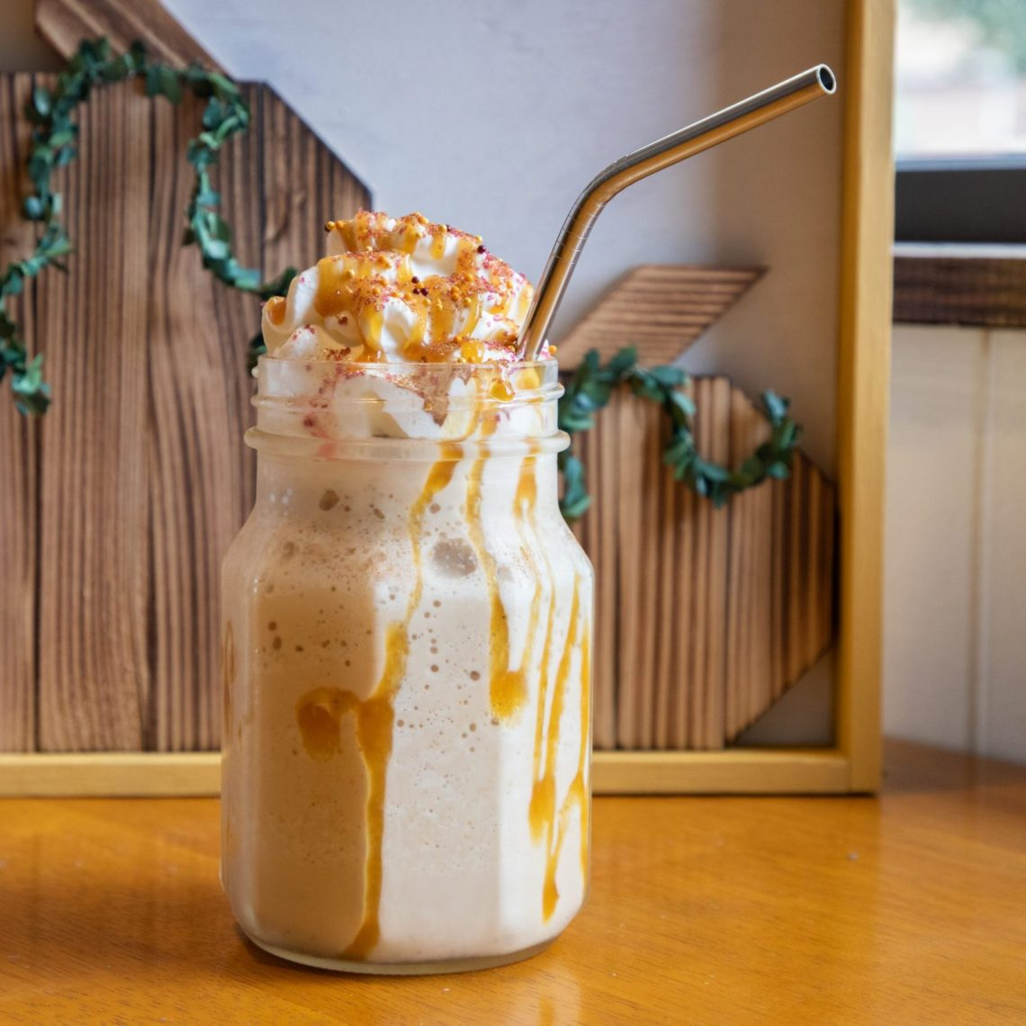 Pumpkin frappucino in a mason jar