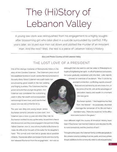 Pinpoint: Pennsylvania Article Featuring the story of James Buchanan and Ann Coleman | Visit Lebanon Valley