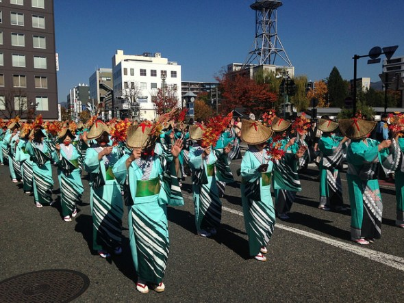 Traditional dance with autumn leaves
