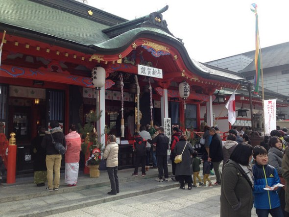 Visitors at Fukashi Shrine
