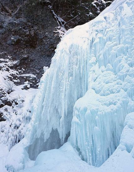Snowshoeing to the Frozen Zengoro Falls in Norikura