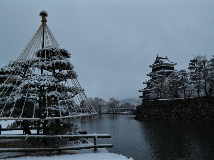 初雪⛄白い世界の松本城