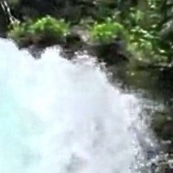 kayaker spilling over edge of Sahalie Falls