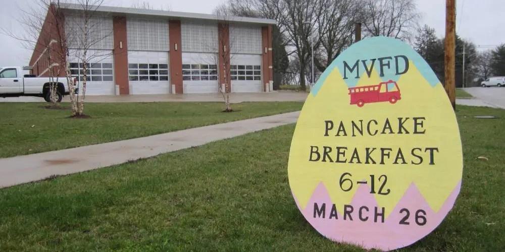 Easter Egg Sign Advertising the Mount Vernon Fire Department Pancake Breakfast