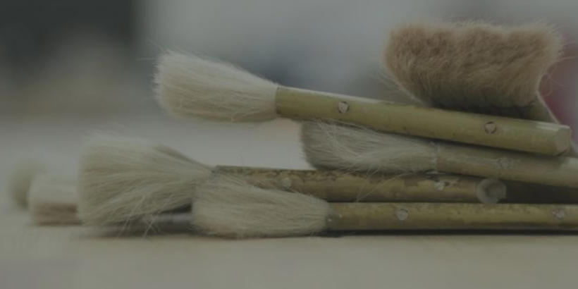 close up of artist paintbrushes