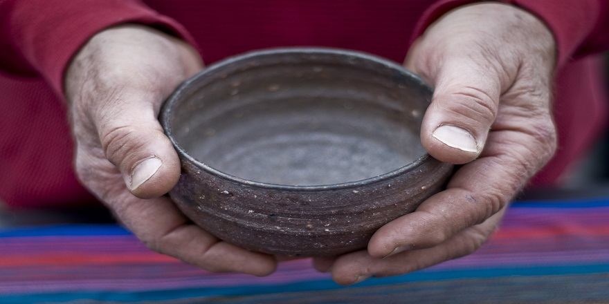 Holding bowl at Lincoln Highway Arts Festival