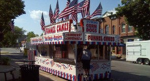 A corn dog and funnel cake stand