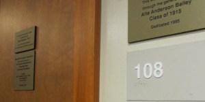 Cole Library Room 108 Door