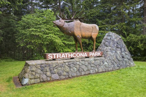Campbell River,British Columbia,Canada - June 2,2018: Strathcona Entrance Table to first BC Provincial Park on Vancouver Island