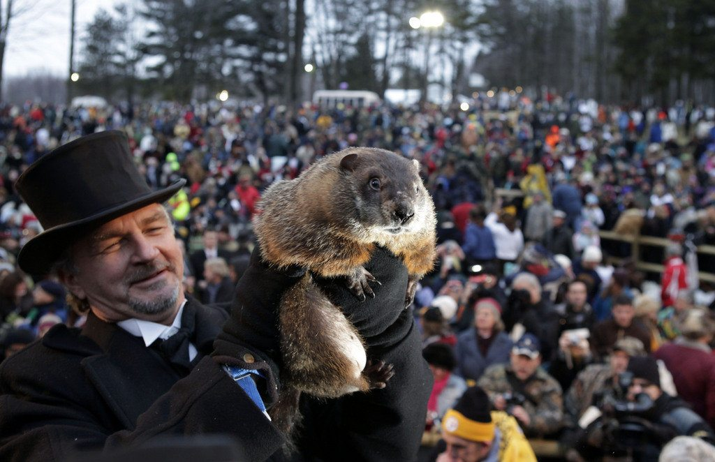 "Punxsutawney Phil greets his ""phans"" from Gobbler's Knob."