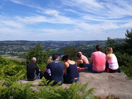 Enjoying the view from the edge of Stanton Moor