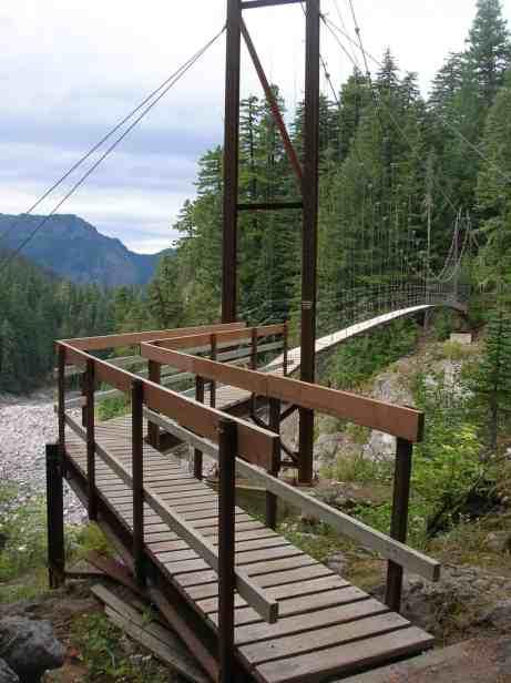 The intimidating-to-some Tahoma Creek Suspension Bridge © Craig Romano