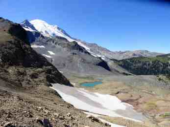 Awesome view of Rainier, Summerland the Sarvent Glacier and glacier-fed tarns from Fryingpan Gap © Craig Romano