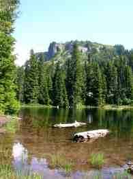One of the Golden Lakes with the old fire lookout site rising behind it @ Craig Romano