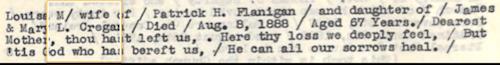 Flanigan, Louisa M. Creyon Epitaph