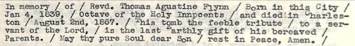 Flynn, Rev. Thomas Augustine Epitaph