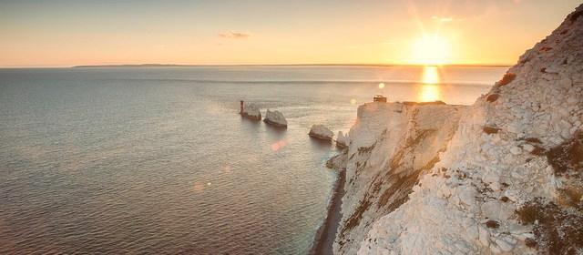 Isle of Wight needles sunset