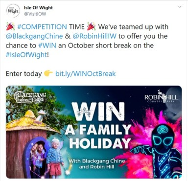 competition promotion package - example image of a Vectis Ventures 'win a family holiday' competition