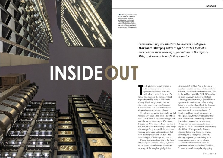 "A 10-page article entitled ""Inside Out"" – researched, written, designed and typeset by me. Not written for any particular publication."