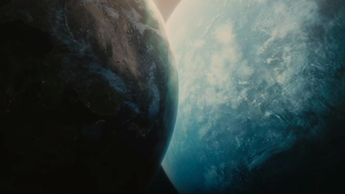 Scene showing close approach of rogue planet with Earth from film Melancholia (2011)