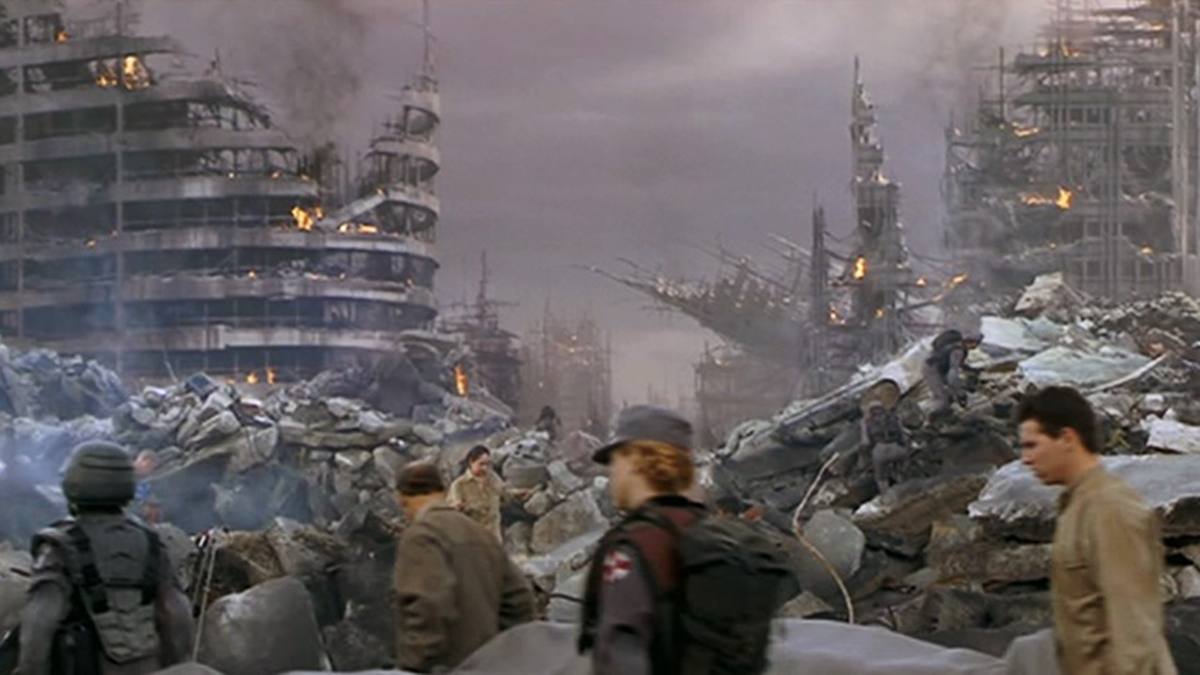 Scene showing the devastation of Buenos Aires after the arachnid asteroid attack in Starship Troopers (1997)