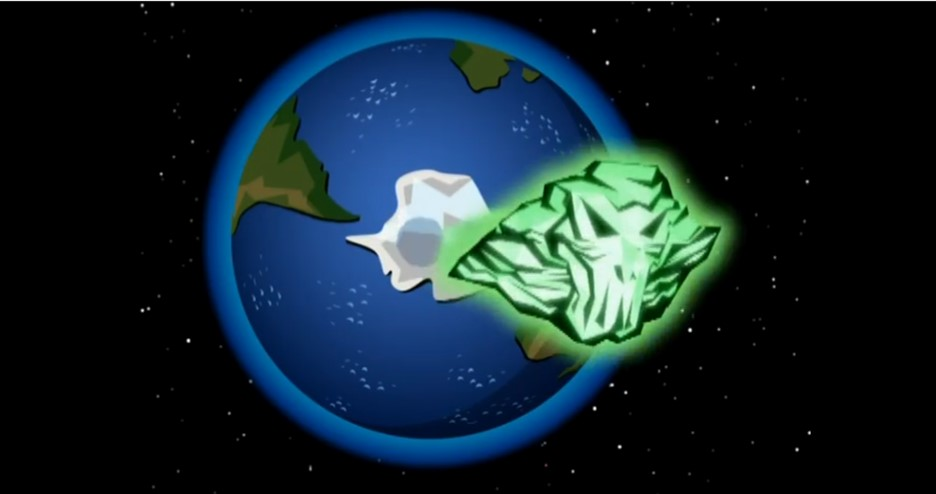 Ectoranium asteroid passing through an intangible Earth in Danny Phantom Phantom Planet (2007) in a blog which is about asteroid impacts and comet impacts on Earth.
