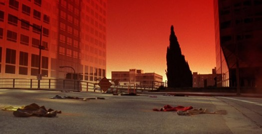 Scene from Night of the Comet (1984) showing the red haze and piles of dust in a deserted street. In blog Making an Impact: Lights, Camera and Asteroid! a blog which is about asteroid impacts and comet impacts on Earth.