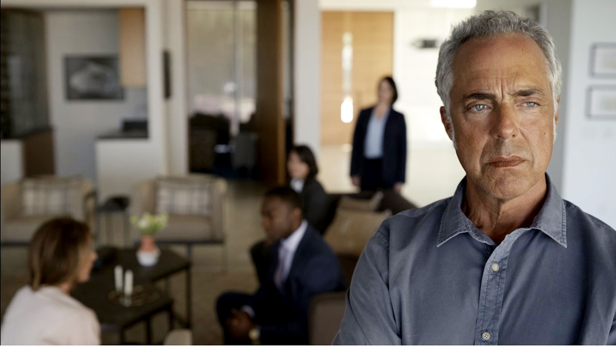 "Bosch Season 6: Looking pensive as helicopters patrol the sky overhead, Bosch asks: ""What's a Medical Physicist?"""
