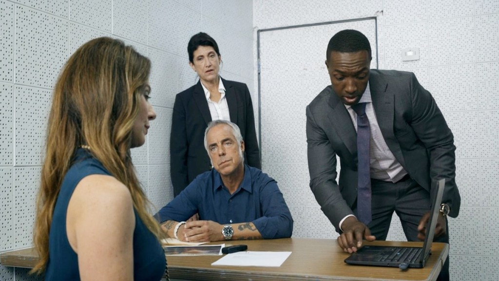 Bosch Season 6 - Bosch questioning Stanley Kent's widow. Bosch asks: What's a medical physicist?